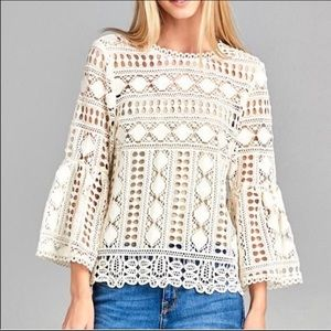 NWT Ellison White Sheer Lace Bell Sleeve Top S